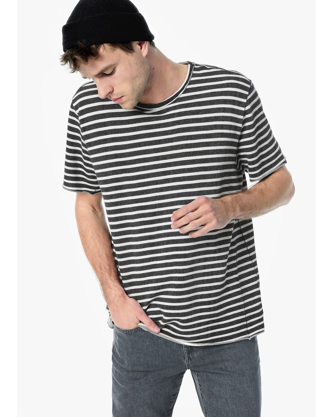 ENGINEERED BLK/WHT FRENCH TERRY STRIPE